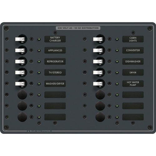 Blue Sea 8561 AC 16 Position 230v (European) Breaker Panel (White Switches)